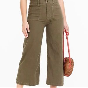 J. Crew army green wide leg jeans size 26